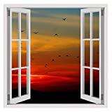 Alonline Art Sunset Flying Birds Fake 3D Window FRAMED STRETCHED CANVAS (100% Cotton) Gallery Wrapped - READY TO HANG | 30''x30'' - 76x76cm | For Home Decor For Living Room Frame Framed Decor Giclee