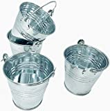 GIFTEXPRESS 12ct Mini Metal Buckets, Mini Tin Pails with Handles, Perfect for Party Favor Wedding Favor, Candy, Votive Candles, Trinkets, Succulent Wedding Buckets/Mini Plant Containers (12-Count)