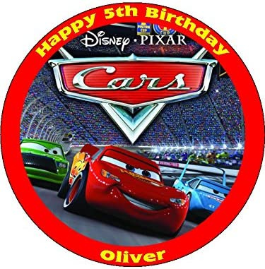 Peachy Disney Cars 7 5 Round Personalised Birthday Cake Topper Printed Funny Birthday Cards Online Alyptdamsfinfo