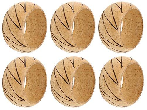 SKAVIJ Napkin Rings Set of 6 Brown for Wedding Banquet Table Dinner Decor Favor Natuaral Wood by SKAVIJ (Image #4)