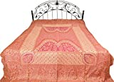 Wild-Aster Reversible Jamawar Bedspread with Mughal Weave - Modal