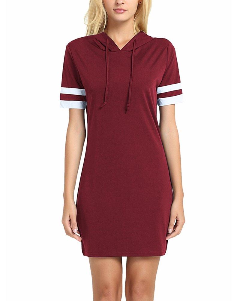 ZJFZML V Neck Dress for Women Latest Clothes Short Sleeve Cueved Hem Stretchy T Shirt Dressy Figure Flattering Hoodie Pullover Sweatshirt Tops Plus Size Red XXL by ZJFZML