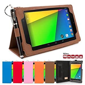 Nexus 7.2 Case, Snugg - Distressed Brown Leather Smart Case Cover [Lifetime Guarantee] Google Nexus 7.2 Protective Flip Stand Cover with Auto Wake / Sleep