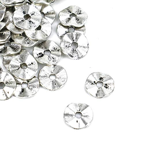 (Monrocco 200 Pcs 10x10x1mm Antique Silver Metal Flat Round Spacers Beads Charm Wavy Disc Beads for Bracelets Jewelry Making)