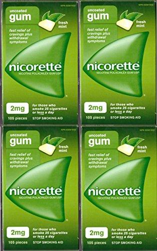 Nicorette Nicotine Gum: FRESH MINT 2 MG (4 packs of 105, 420 Pieces) (Stop Smoking