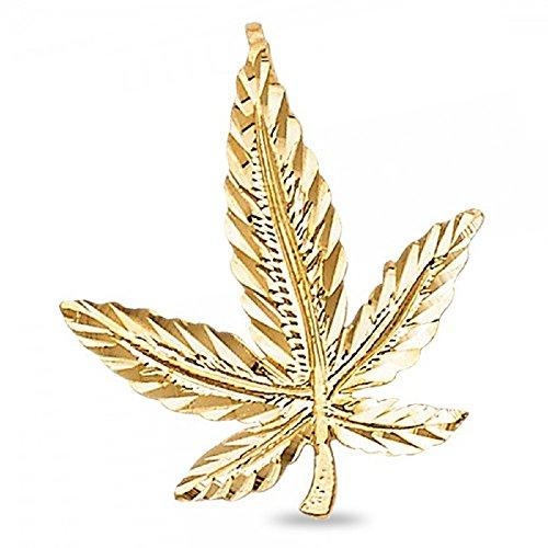 nt Solid 14k Yellow Gold 420 Cannabis Pot Charm Diamond Cut Hip Hop 20 x 19 mm (Gold Marijuana Leaf)