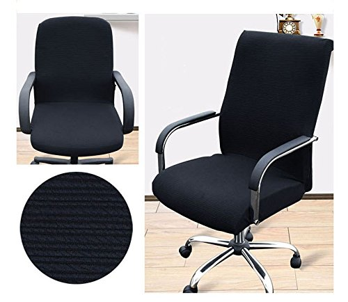 Beyonder Office Slipcovers Cloth Chair pads Universal Stretch Spandex Removable office Chair Cover Protector Seat (L, Black) (Large Chair Slipcovers)