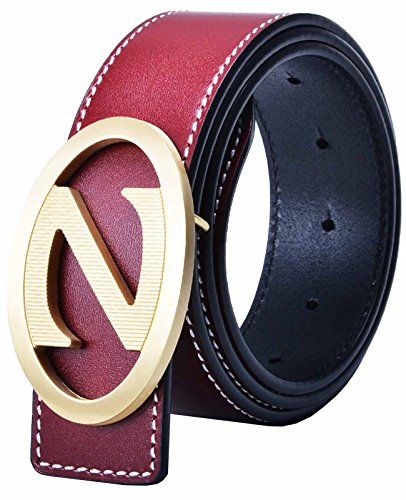 Nidicus Mens 38mm Wide Stylish Z Word Metal Buckle Stitch Edged Leather (Belt Wine)