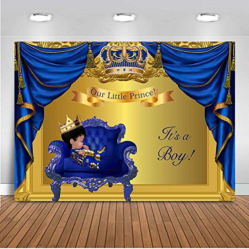 Mehofoto Royal Baby Shower Backdrop Little Prince Baby Boy Photography Background 7x5ft Vinyl Blue Gold Curtain Baby Shower Party Banner Decoration