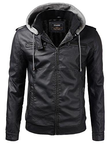 IDARBI Men's Premium Pu Faux Leather Moto Biker Jacket with Detachable Hood Black L