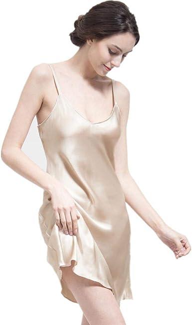 THXSILK Women's Silk Nightgown, 100% Mulberry Silk Sleepwear V Neck  Spaghetti Strap Soft Smooth Light Yellow, XL at Amazon Women's Clothing  store