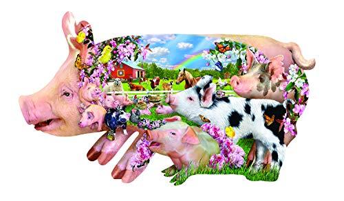Sunsout 2019 Pig Farm by Artist Lori Schory 800 Piece Collage Shaped -