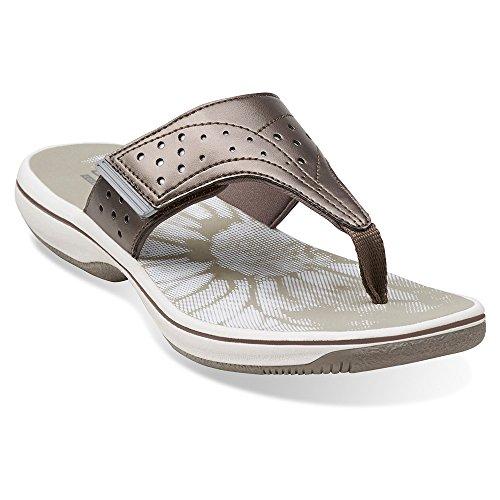 Clarks Womens Brinkley Star Infradito Sandalo In Peltro
