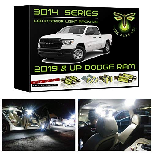 Fyre Flys 15 Piece White LED Interior Lights for 2019 & Up Dodge Ram Super Bright 6000K 3014 Series SMD Package Kit and Install Tool ()