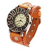 Binmer(TM) Men Women Retro Punk Watches Rock Big Cuff Quartz PU Leather Bracelet Vintage Wrist Watch