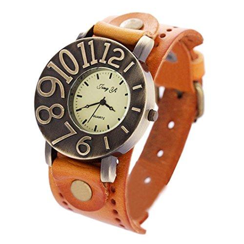 Binmer(TM) Men Women Retro Punk Watches Rock Big Cuff Quartz PU Leather Bracelet Vintage Wrist Watch
