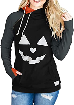 Womens Slouchy Shirts Halloween Funny Pumpkin Print Long Sleeve Sweatshirt Pullover Tops Blouse Shirt