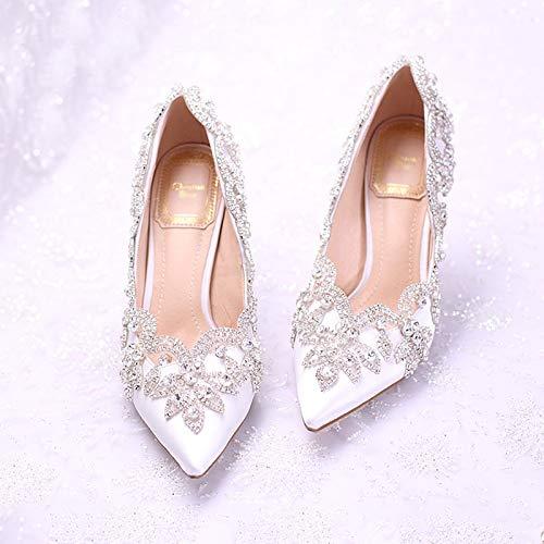 Heels Tips Shoes Super Crystal Flowers Diamond SFSYDDY Single White 37 Shoes Heels Bride Dress Shoes High Heels shoes New Banquet Water white Shoes Wedding Fine p1P4qw8