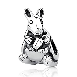 Everbling Australia Animal Kangaroo Koala Bear 925 Sterling Silver Bead for European Charm Bracelet (Kangaroo)