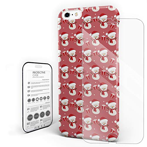 Slim Fit Hard Shell Case for iPhone 6/6s Full Protective Shockproof Happy Snowman Wear Hat Gift Christmas Themed Pink Cover Case for Apple 6/6s