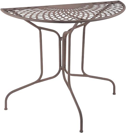 estilo moderno semicircular mesa, jardín todo mesa, Hierro Forjado Antiguo Blanco: Amazon.es: Hogar