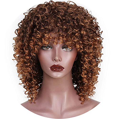 Afro Kinky Curly Wig Mixed Brown and Ombre Blonde Synthetic Wig Natural Black Hair for Women Heat Resistant Hairs,Multi Color,14inches -