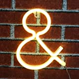 Light up LED Neon Letter Sign Ampersand Wall Decorative Neon Lights Warm White Alphabet Marquee Letter Lights Night Lamp for Home, Living Room, Birthday Wedding Party Decor - &