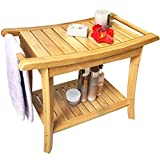 Shower Seat Bench Bathroom Spa Bath Organizer Stool with 2-Tier Storage Shelf ,Bathtub Shower Chair / Stool Easy to Clean & Quite Durable by Artmeer (shower bench)