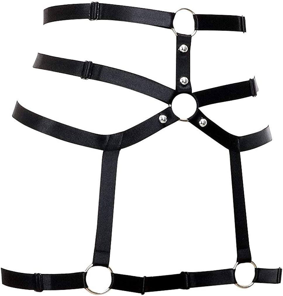 BODY HARNESS playsuit  Jet one off collar frame lingerie  adjustable elastic strap ouvert brief  thigh leg harness  plus size lingerie