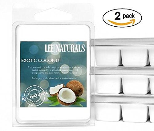Lee Naturals Spring & Summer - (2 Pack) EXOTIC COCONUT Premium All Natural 6-Piece Soy Wax Melts. Hand Poured Naturally Strong Scented Soy Wax Candle Cubes Soy Cubes