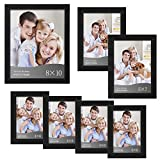 """WOLTU 7 Piece Multi-size Pack Black Picture Frame Set with Plexiglass Cover DIY Gallery Art Wall Decor,1-8x10"""",2-5x7"""",4-4x6"""", PF01-x"""