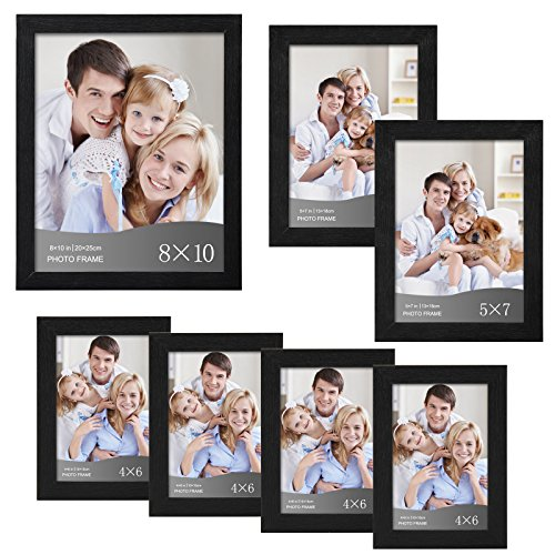 WOLTU 7 Piece Multi-size Pack Black Picture Frame Set with Plexiglass Cover DIY Gallery Art Wall Decor,1-8x10,2-5x7,4-4x6, ()