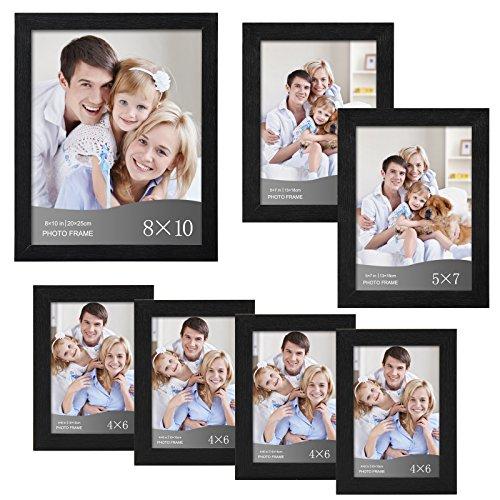 WOLTU 7 Piece Multi-size Pack Black Picture Frame Set with Plexiglass Cover DIY Gallery Art Wall Decor,1-8x10,2-5x7,4-4x6, PF01-x (1 X 7 8 2)