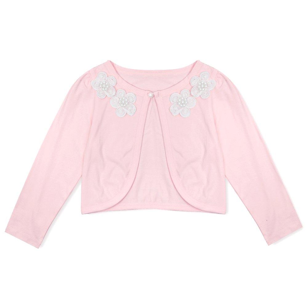 Freebily Kids Girls Bolero Shrug Long Sleeve Cardigan Bridesmaid Flower Girl Jack Cover up Pink 9-10