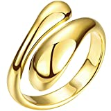 LWLH Womens 18K Yellow Gold Plated Open Adjustable Cute Double Water Droplets Tear Drop Ring Wedding Band