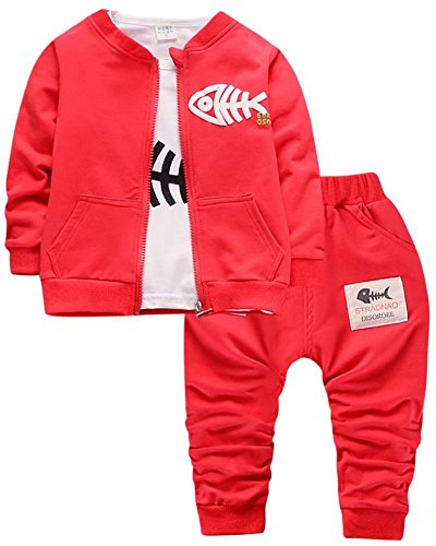 3 Piece Long Sleeve Jumper - Toddler & Little Boys Girls 3-Piece Long Sleeve Zip Sweatshirt Jacket, T Shirt & Sweat Pants Outfit Set, Red, Age 12M - 18M (12-18 Months) = Tag 80