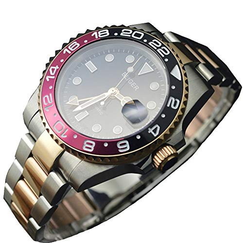 Parnis Bliger 45MM GMT Master Sapphire Crystal red&Black Bezel Golden Stainless stell Men Automatic Watch