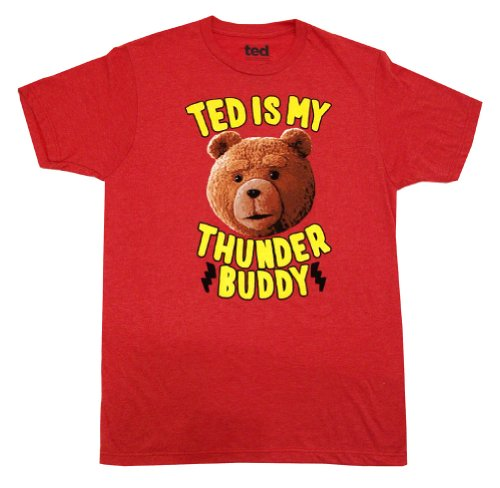 Ted T-shirt Movie Ted is My Thunder Buddy Adult, Red Heather Tee Shirt, X-Large