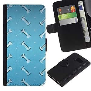 KLONGSHOP // Tirón de la caja Cartera de cuero con ranuras para tarjetas - Huesos - Samsung Galaxy S6 //
