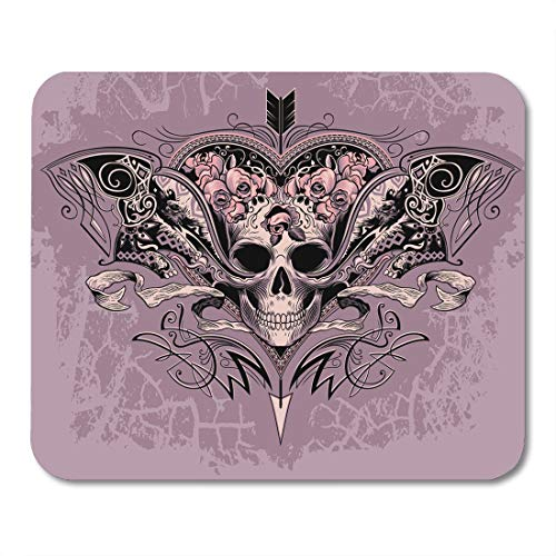 Boszina Mouse Pads Purple Graphic Pink Tattoo Skull Heart on Dusty Mauve Black Evil Swirls Mouse Pad for notebooks,Desktop Computers mats 9.5