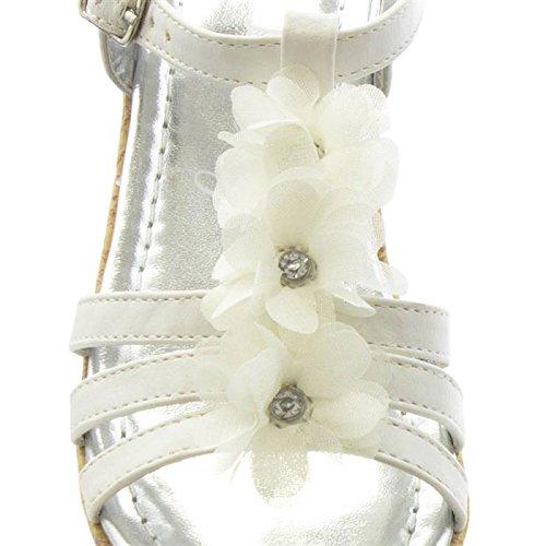 HeelzSoHigh Kids Girls Childrens White Flower Wedge Sandals Summer Holiday Shoes Sizes 8-4