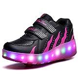 Uforme LED Light Children Pulley Shoes Fashion Sneakers Double Wheels Roller Skate Shoes (11.5M US Little Kid, DJ028 Black Rose)