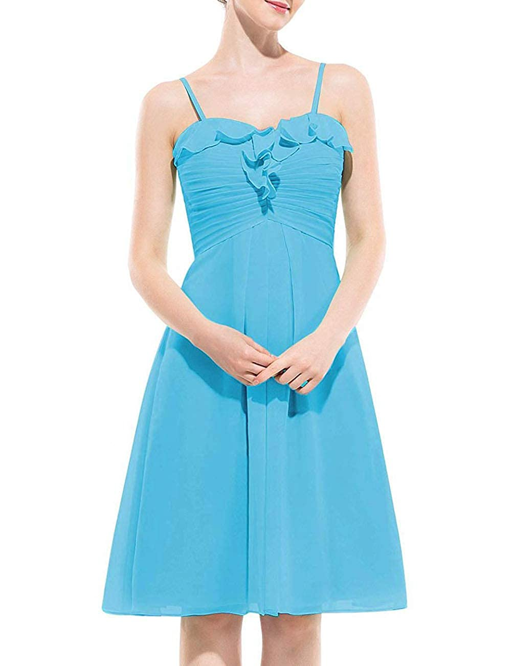 Pool Uther Spaghetti Strap Bridesmaid Dress Short Homecoming Party Cocktail Dresses