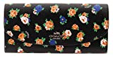 COACH Crossgrain Leather Floral Printed Slim Envelope Wallet (Black Multi)
