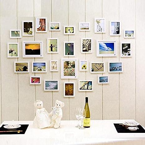 Han Feng pared de pegatinas 28 fotos Caja Madera pared Ideas Amor Combinación Marco pared cara Foto Salón pared: Amazon.es: Hogar