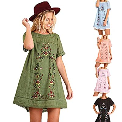Funic New Women's Bohemian Embroidered Short Sleeve Dress or Tunic at  Women's Clothing store