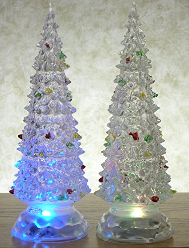 Banberry Designs Lighted Christmas Trees - Set of 2 Color Changing LED Acrylic Xmas Trees - Each Tree has Colorful Ornaments - Holiday Decorations - Christmas Decorations by Banberry Designs (Image #2)