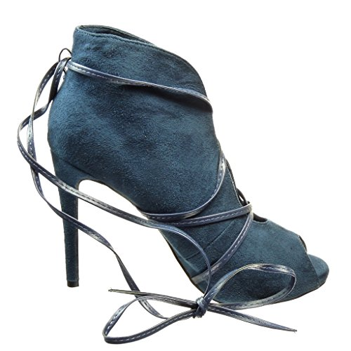 Angkorly Women's Fashion Shoes Ankle Boots - Booty - Sexy - Open - Thong Stiletto High Heel 10 cm Blue IrZUBHiFR