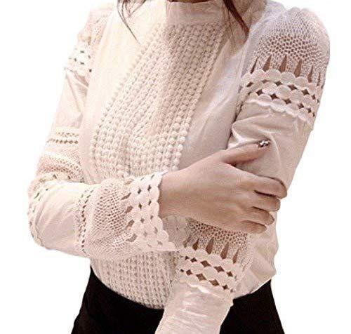 Pomo Z Womens Cotton Blend Hollow Out Lace Crochet Long Sleeve Trim