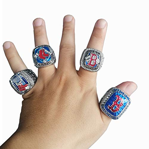 ADLIDIAO Red Sox 4 Years World Series Baseball Championship Rings with Box Set 2004 2007 2013 2018(Size 11) (2013 Boston Red Sox World Series Ring)
